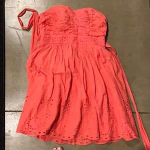 Coral dress with detailing